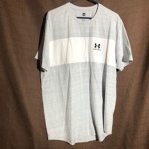 Gray And White Striped Under Armour T-shirt